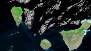 Satellite Image La Palma and La Gomera Fires August 2012